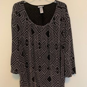 Catherines 4x Black and silver top 3/4 sleeve
